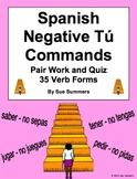 Spanish Negative Tú Informal Commands Pair Work Escaleras Activity and Quiz