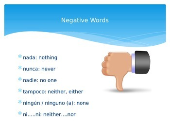 Spanish Negative and Affirmative Words