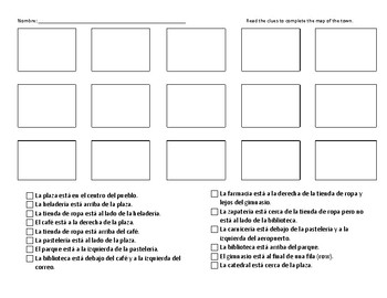 Spanish Neighborhood/Community and Prepositions Reading