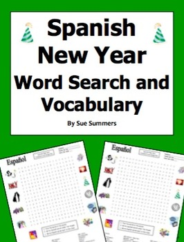 Spanish New Year Word Search Puzzle Worksheet and Vocabulary