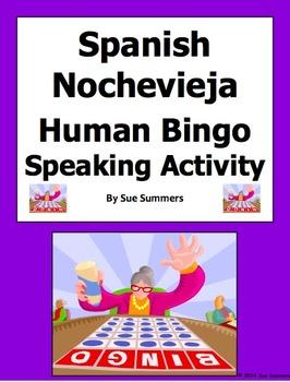 Spanish New Year's Eve Human Bingo Game Speaking Activity