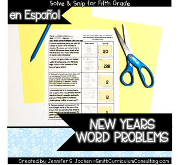 Spanish New Years Word Problems Solve and Snip