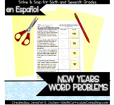 Spanish New Years Word Problems | Solve and Snip® | 6th &