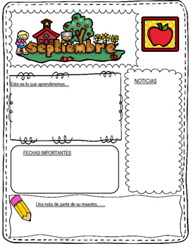 Monthly Newsletters in both color and bw:  Editable Monthly Spanish Newsletters