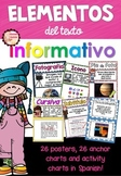 Spanish Non-Fiction Text Features Posters (Elementos del t