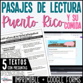 Spanish Non Fiction Reading Comprehension Passages | Puerto Rico Food