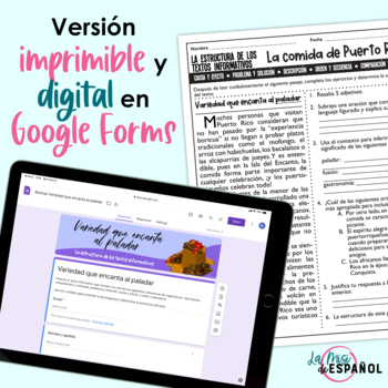 Spanish Non Fiction Reading Comprehension Passages   Puerto Rico Food