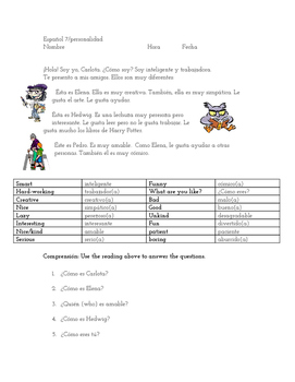 Spanish Notes - Personality Adjectives
