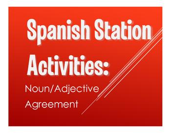 Spanish noun adjective agreement stations by the profe store llc spanish noun adjective agreement stations platinumwayz