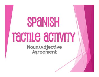 Spanish Noun Adjective Agreement Tactile Activity