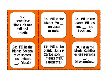 Spanish Noun Adjective Agreement Task Cards