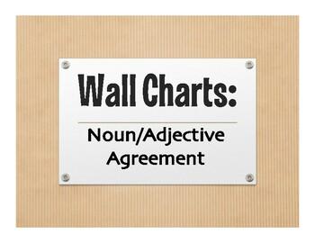 Spanish Noun Adjective Agreement Wall Charts