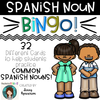 Spanish Noun BINGO! ♦ 32 different cards! ♦