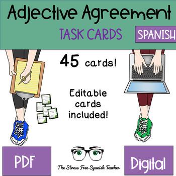 Spanish Nouns / Adjective Agreement Task Cards, 45 Cards! Editable!