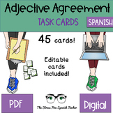 Spanish Nouns / Adjective Agreement Task Cards, 45 Cards! Editable!