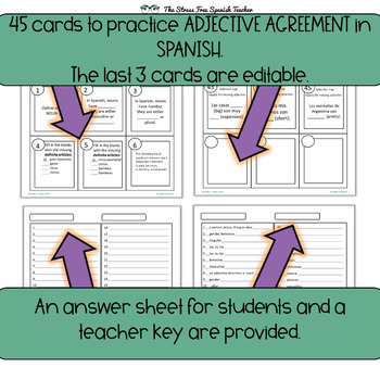 Spanish Nouns / Adjective Agreement Task Cards, 45 Cards! PHOTOCOPY FRIENDLY