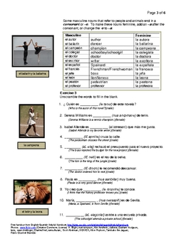 Spanish Nouns And Gender #1 People And Animals