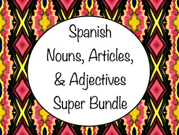 Spanish Nouns, Articles, & Adjectives Super Bundle - Slide