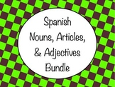 Spanish Nouns Articles Adjectives Bundle - Slideshow & Worksheets Practice Pack