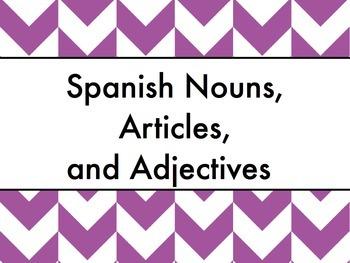 Spanish Nouns, Articles, & Adjectives PowerPoint Slideshow Presentation