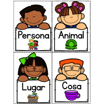 Spanish Nouns Pocket Chart Sort