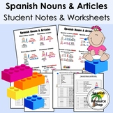 Spanish Nouns and Articles Grammar Notes and Practice Worksheets