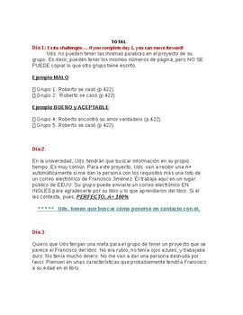 Spanish Novel Reading Extension w/ Rubric Included