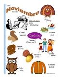 Spanish November Themed Vocabulary Bilingual