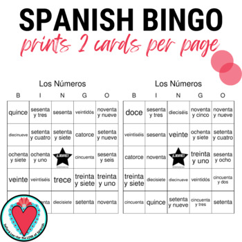 Spanish Bingo: Numbers 12 to 100! Los Números hasta Cien
