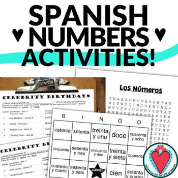 Spanish Number Bundle - Word Search, Crossword, Bingo & Ce