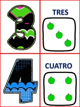 Spanish Number Cards 0-20