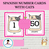 Spanish Number Cards 1-50 With Cats