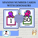 Spanish Number Cards 1-50 With Dinosaurs
