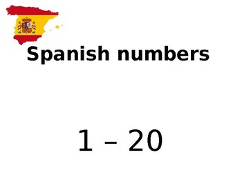 Spanish Number Cards 1 to  20
