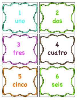 Spanish Number Cards