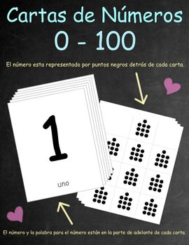 Spanish Number Cards /Cartas de Números 0-100