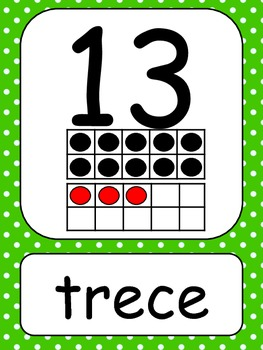 Spanish Number Cards1-20  Polka Dots