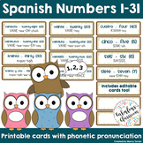 Spanish Number Charts 1-10 with Phonetic Pronunciations