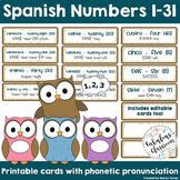 Spanish Numbers 1-31 | Los Números Printable Charts Distan