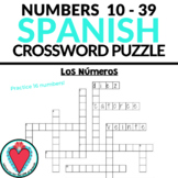 Spanish Numbers CROSSWORD - Los Números 0 - 39