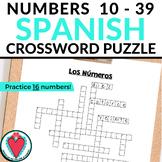 Spanish Numbers 1 - 39 - Spanish Crossword Puzzle
