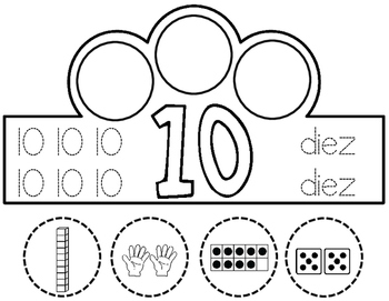 Spanish Number Crowns:  Spanish Crowns Numbers 1-10