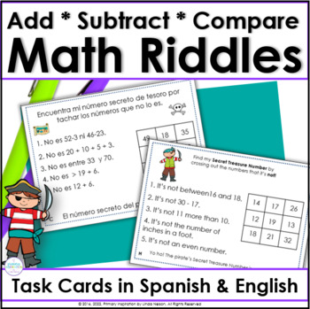 Number Logic Riddles for Two-Digit Numbers ~ Spanish/Engli