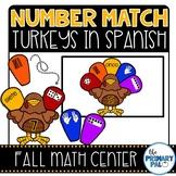 Spanish Math Center: Number Match Turkeys
