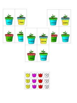 Spanish Number Names Center/ Reconociendo los nombres de los números