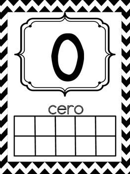 Spanish Number Posters 0-20 Black and White Chevron