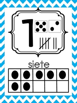 Spanish Number Posters 0-20 Teal and Grey Chevron