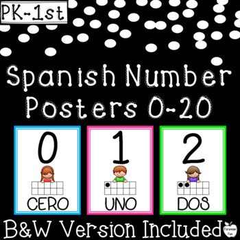 Spanish Number Posters 0-20 with 10 Frames ~ Bright Colors ~ PK-1st