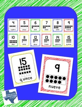 Spanish Number Posters 0-20 with Numeral, Ten Frame, & Number Word