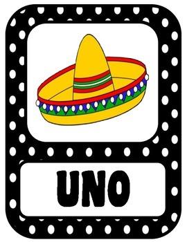 Spanish Number Posters 1-10 Polka Dot